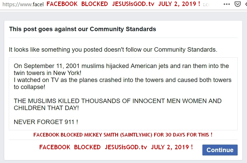Facebook Blocks JESUSisGOD.tv for 911 POst !