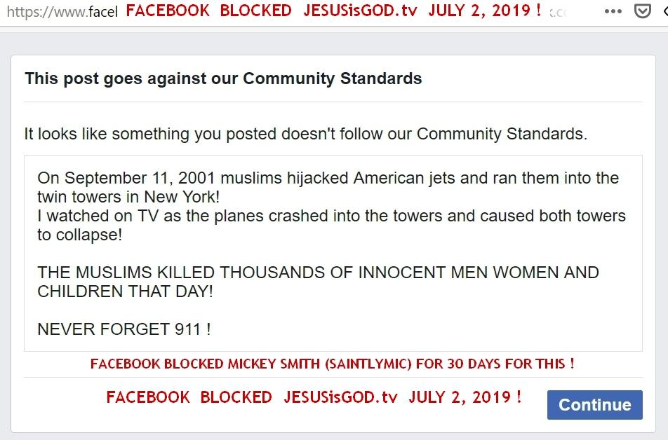 Facebook Blocks JESUSisGOD.tv for 911 POst !